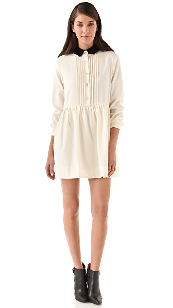 Sea Pintucked Wool & Shearling Dress