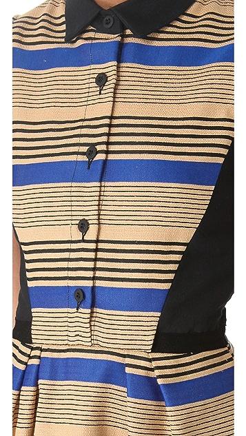 Sea Combo Button Up Dress