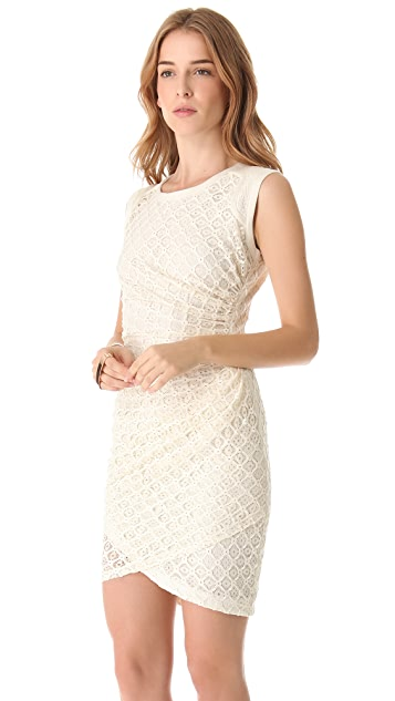 Sea Shirred Tile Sheath Dress