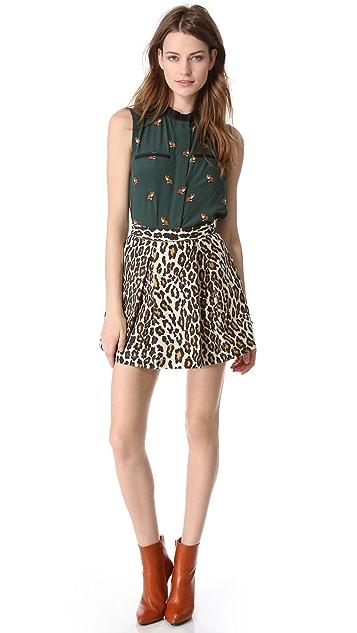 Sea Pleated Leopard Skirt