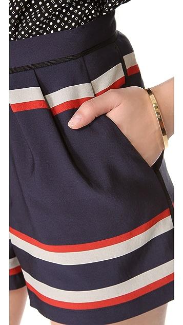Sea Striped Pleat Shorts