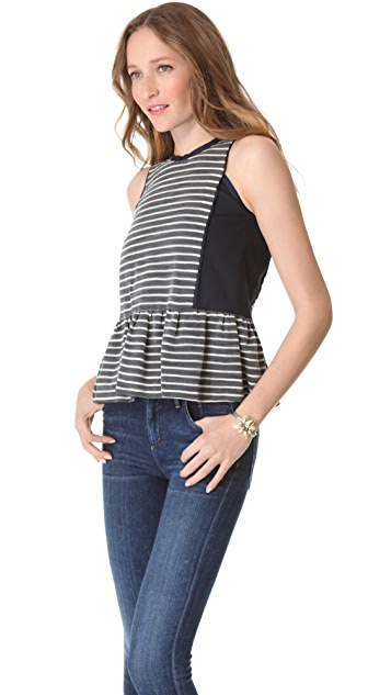 Sea Stripe Peplum Top