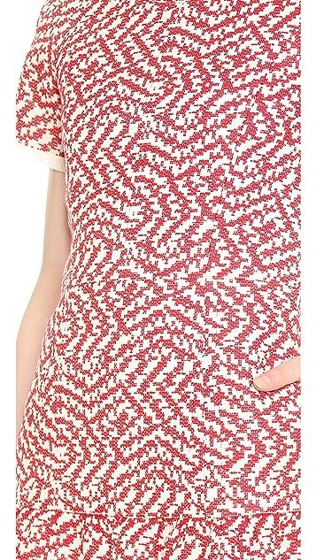 Sea Frayed Ruffle Dress