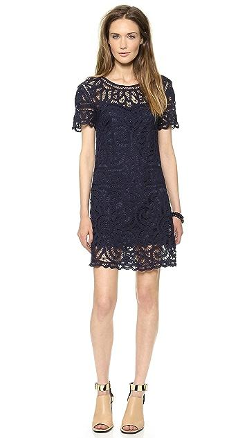 Sea Short Sleeve Lace Dress