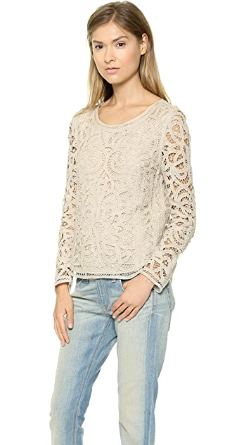 Sea Long Sleeve Lace Blouse