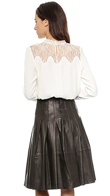 Sea Pintucked Lace Combo Blouse
