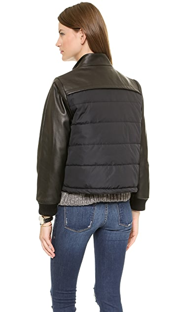 Sea Leather Puff Bomber