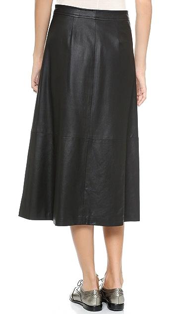 Sea Zip Leather Midi Skirt