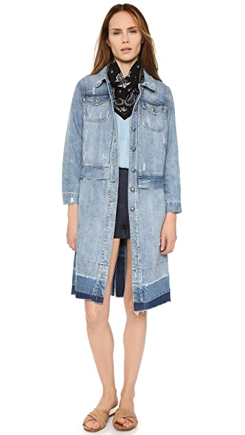 Sea Washed Denim Overcoat