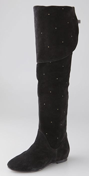 See by Chloe Above the Knee Flat Boots with Small Studs