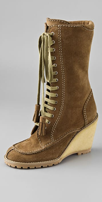 See by Chloe Lace Up Suede Boots on Crepe Wedge