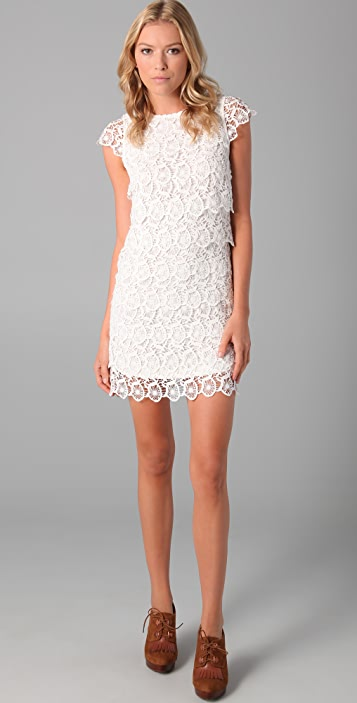 Short Sleeve Lace Tiered Dress