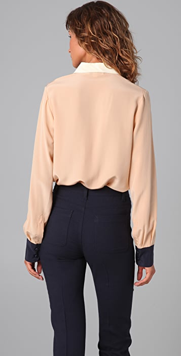 See by Chloe Colorblock Button Down Blouse