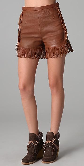 44276da8 Leather Shorts with Fringe