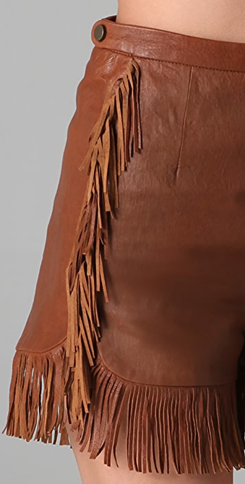 See by Chloe Leather Shorts with Fringe