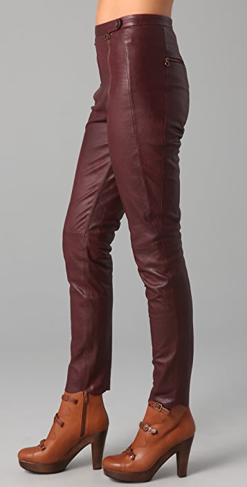 e049111f High Waisted Leather Pants with Scalloped Hem