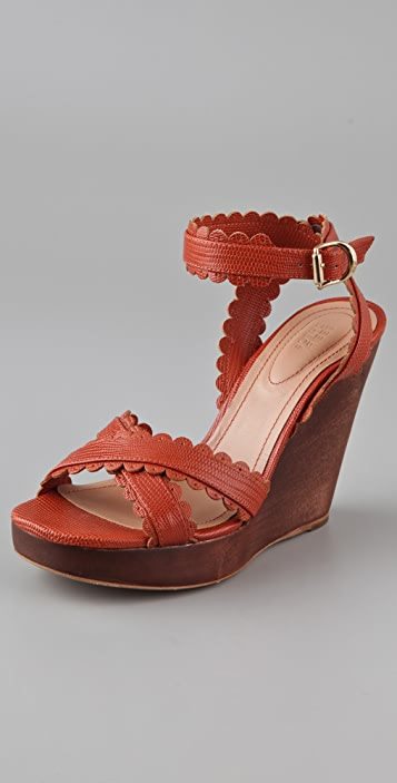 7c37020ebb1 See by Chloe Scallop Wooden Wedge Sandals