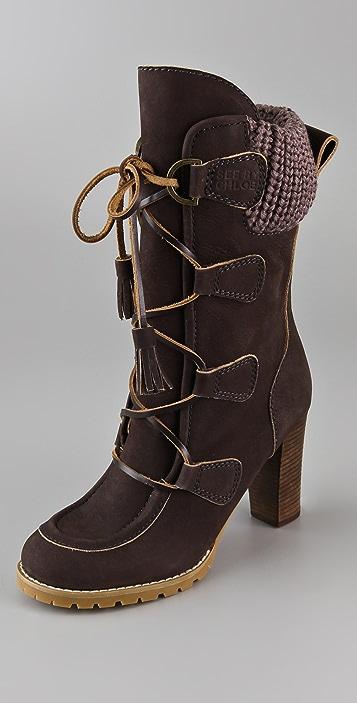 See by Chloe Wallabee High Heel Calf Boots