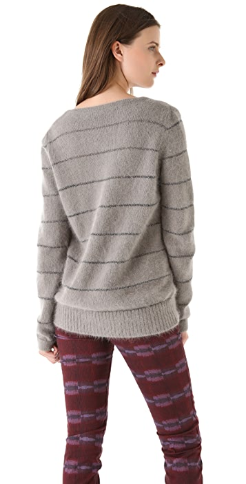 See by Chloe Stripe V Neck Sweater