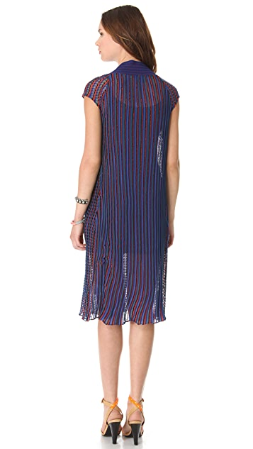 See by Chloe V Neck Striped Sweater Dress