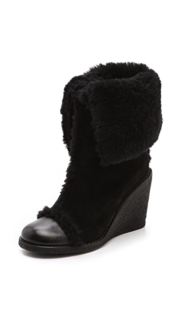 See by Chloe Fur Lined Suede Wedge Boots