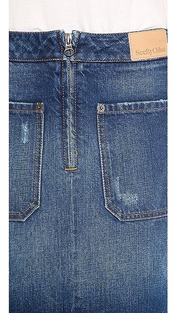 See by Chloe Knee Length Denim Skirt
