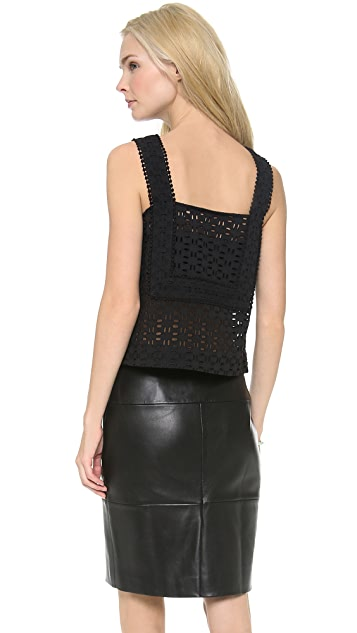 See by Chloe Eyelet Square Neckline Tank