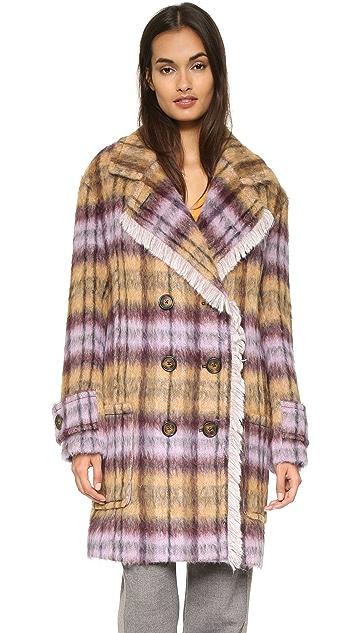 See by Chloe Plaid Pea Coat