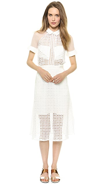 Self Portrait Pattern Play Lace Midi Dress