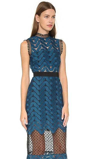 Self Portrait Scallop High Neck Midi Dress