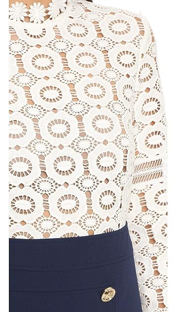 Self Portrait Crochet A Line Dress
