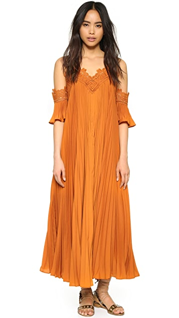 9c96edaed67aa Self Portrait Pleated Cold Shoulder Gown