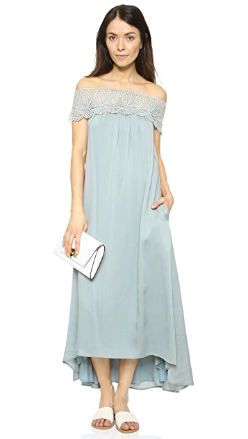 Self Portrait Lace Shoulder Maxi Dress