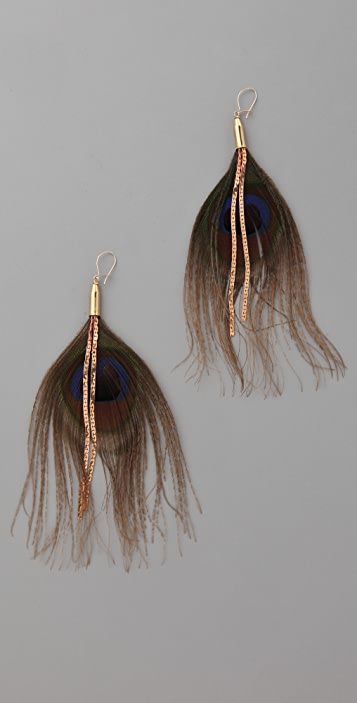 serefina Chain Feather Peacock Earrings