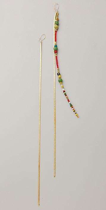 serefina Asymmetrical Beaded Strand Earrings