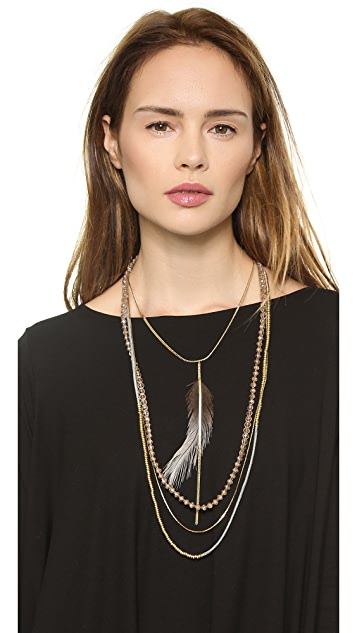 serefina Feather Layered Necklace