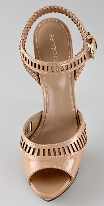 Sergio Rossi Star Patent Platform Sandals