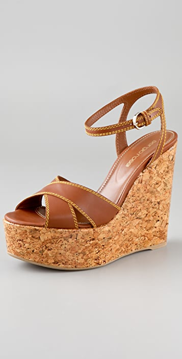 Sergio Rossi Crisscross Wedge Sandals