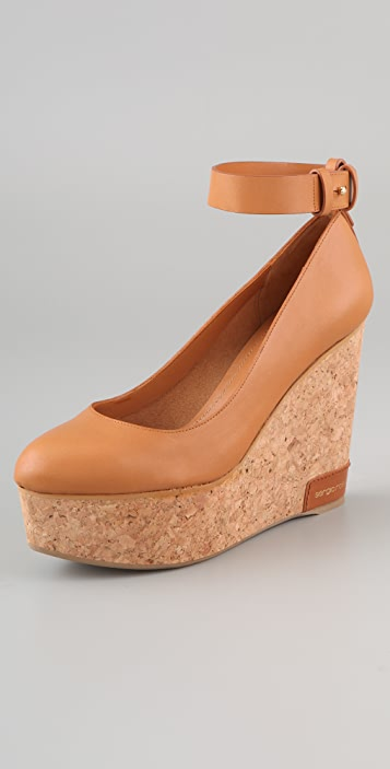 Sergio Rossi Cork Wedge Pumps
