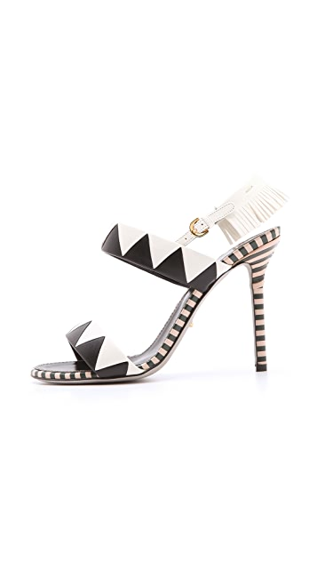 Sergio Rossi Leather Sandals with Fringe Heel