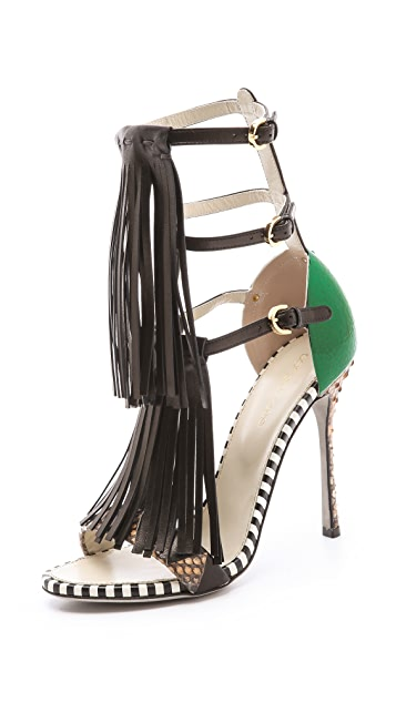 Sergio Rossi High Fringe Sandals
