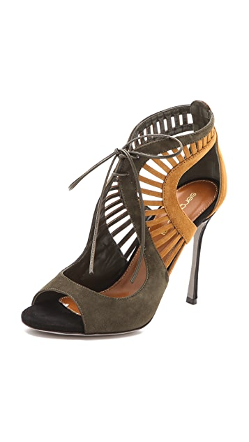 Sergio Rossi Tricolored Suede Naos Sandals
