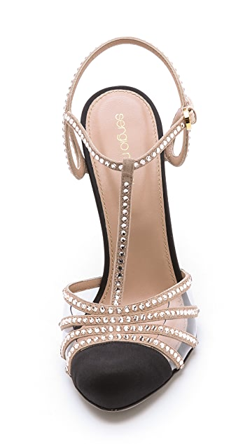 Sergio Rossi Crystal T Strap Pumps
