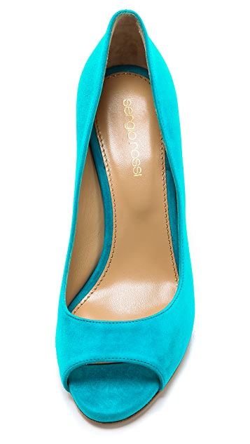 Sergio Rossi Lacker Peep Toe Wedges