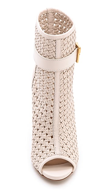 Sergio Rossi Talia Woven Leather Booties