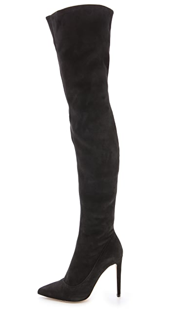Sergio Rossi Suede Over the Knee Boots