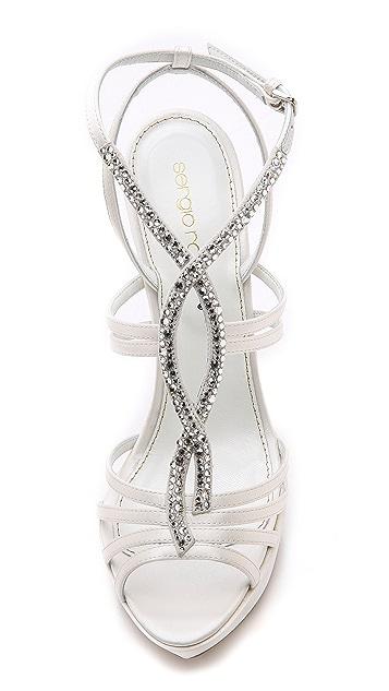 Sergio Rossi Satin & Crystal Platform Sandals