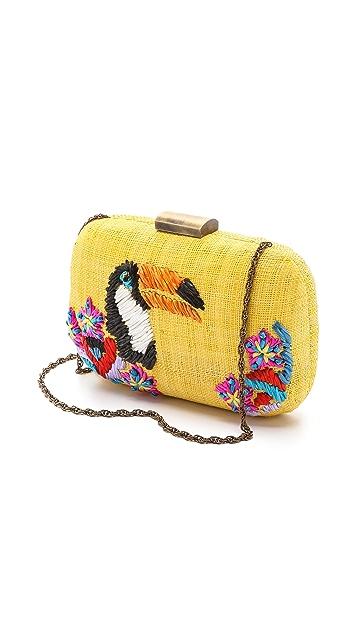Serpui Marie Toucan Embroidered Fauna Clutch