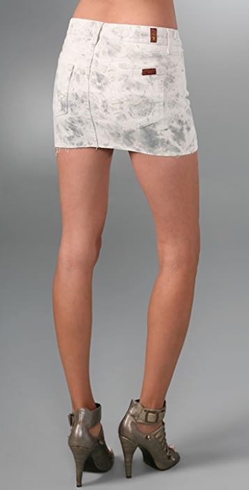 7 For All Mankind Tie Dye Denim Miniskirt