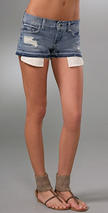 7 For All Mankind Boyfriend Denim Shorts with Crochet Lining